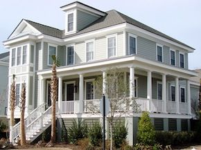 Wrap around porch, coastal style home.