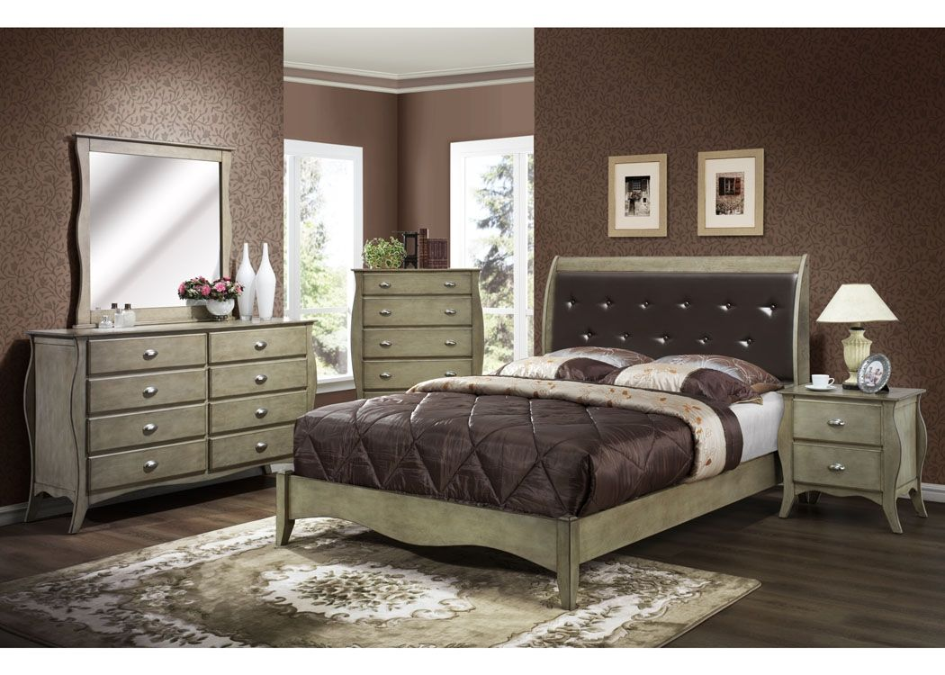 Brushed Nickel King Size Headboard: Mollai Collection 7PC Bedroom Set With Brushed Nickel