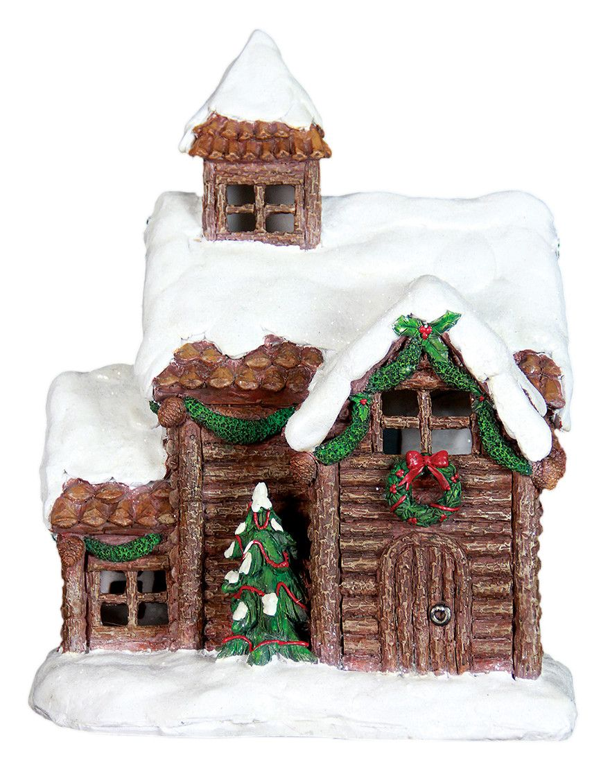 "13.5"" Holiday Log Cabin with Automatic Timer"