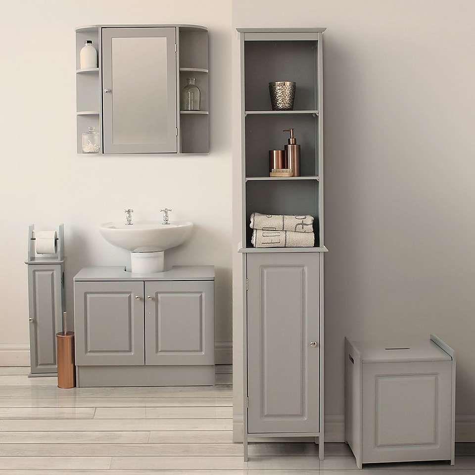 Verona Grey Tallboy In 2020 Bathroom Furniture Storage Bathroom Collections Wood Bathroom