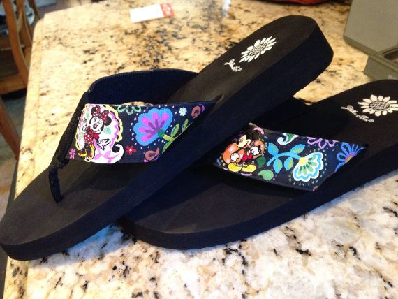 6ad55fd8b Disney Vera Bradley inspired Flip Flops Featuring Mickey and Minnie - Hand  Painted - Yellow Box Brand by chloe24k on Etsy Size 10