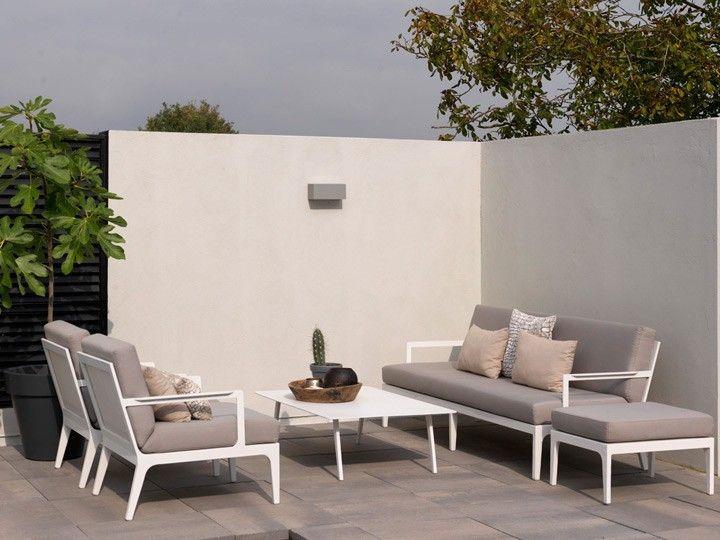 Lounge sofa 2 sitzer outdoor  SEVILLA Lounge Garten Sofa 2-Sitzer Weiß & Textilene Taupe ...