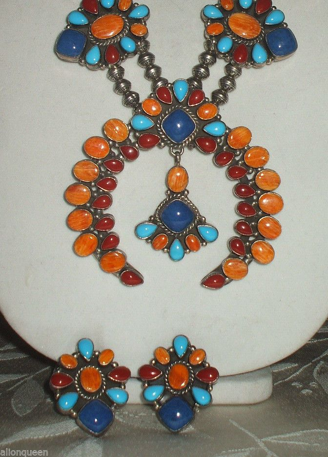 cc348ce3b Exquisite Signed Navajo RAY BENNETT Squash Blossom Necklace ...