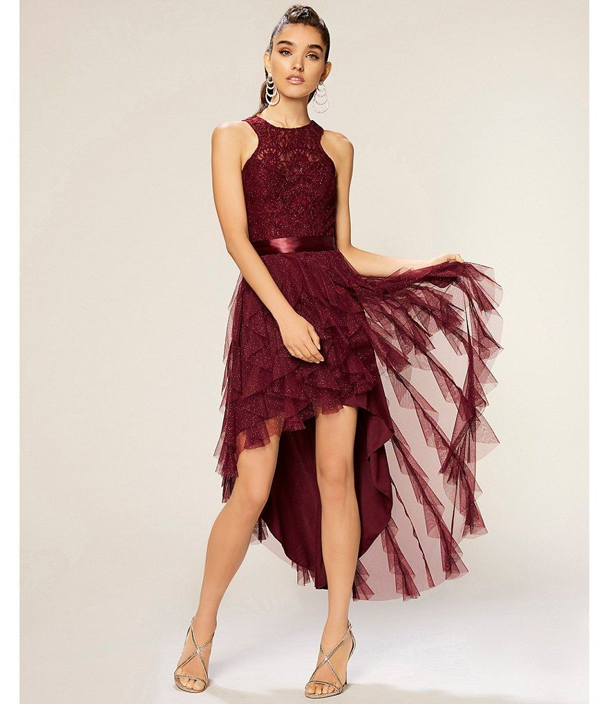 9c4d0c39805 Teeze Me Glitter Lace Corkscrew High-Low Dress in 2019 | Homecoming ...