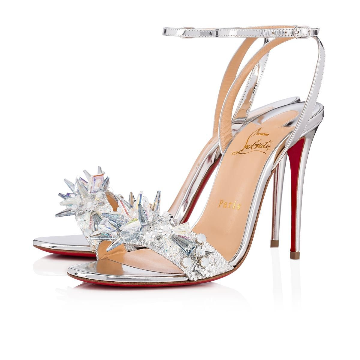 ce04d1c6f Christian Louboutin United States Official Online Boutique - Okydok 100  Version Silver Crepe Satin Satin Lurex available online. Discover more  Women Shoes ...