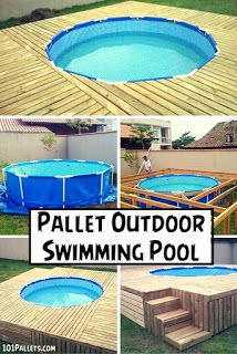 Above Ground Pool Deck Made From Pallets Pallet Outdoor Diy Pool Diy Swimming Pool