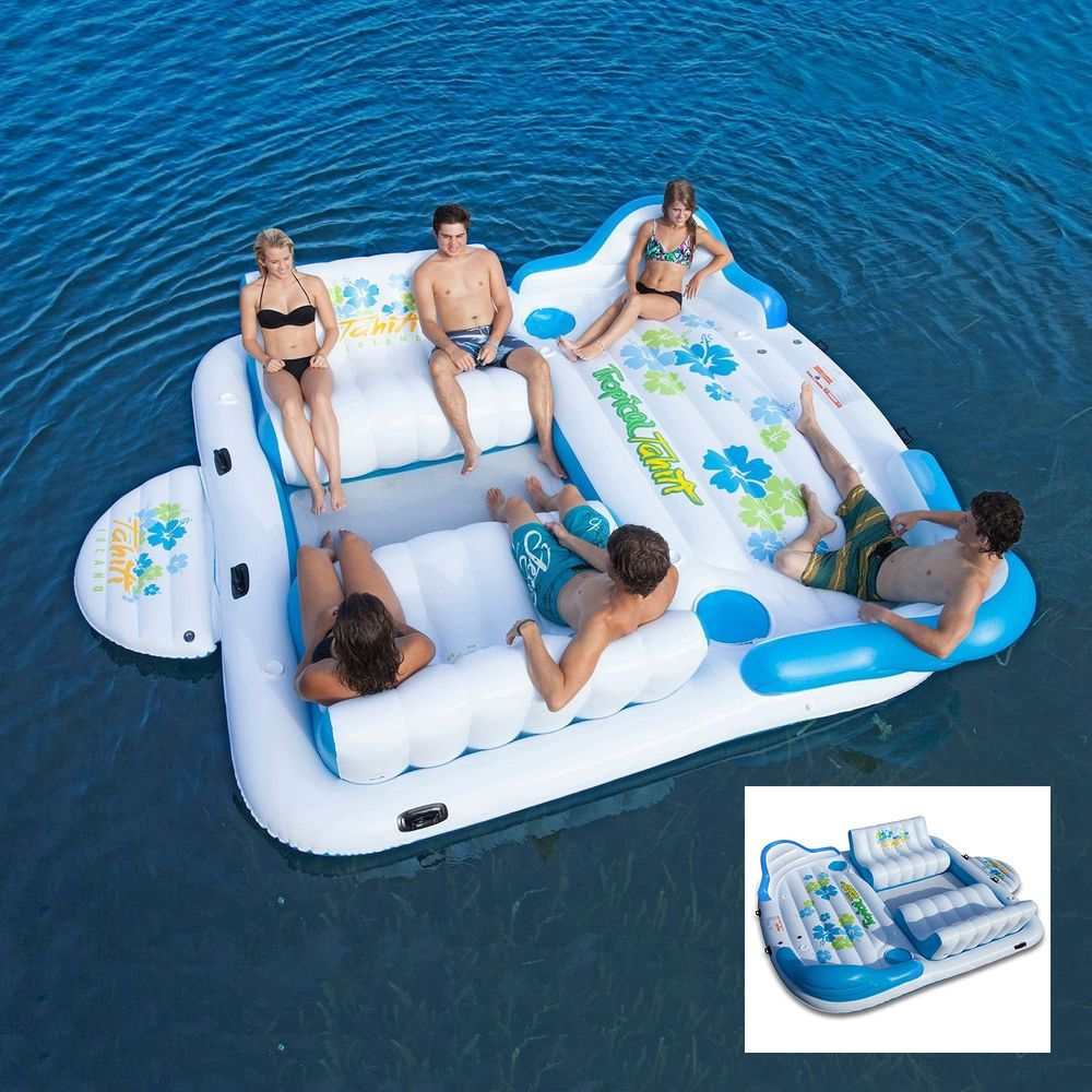 Tropical Tahiti Floating Island Inflatable Floating Island 6 Person Float Inflatable Floating Island Cool Pool Floats Pool Floats