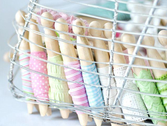 Basket of organized ribbons, via Flickr.  Cute idea...