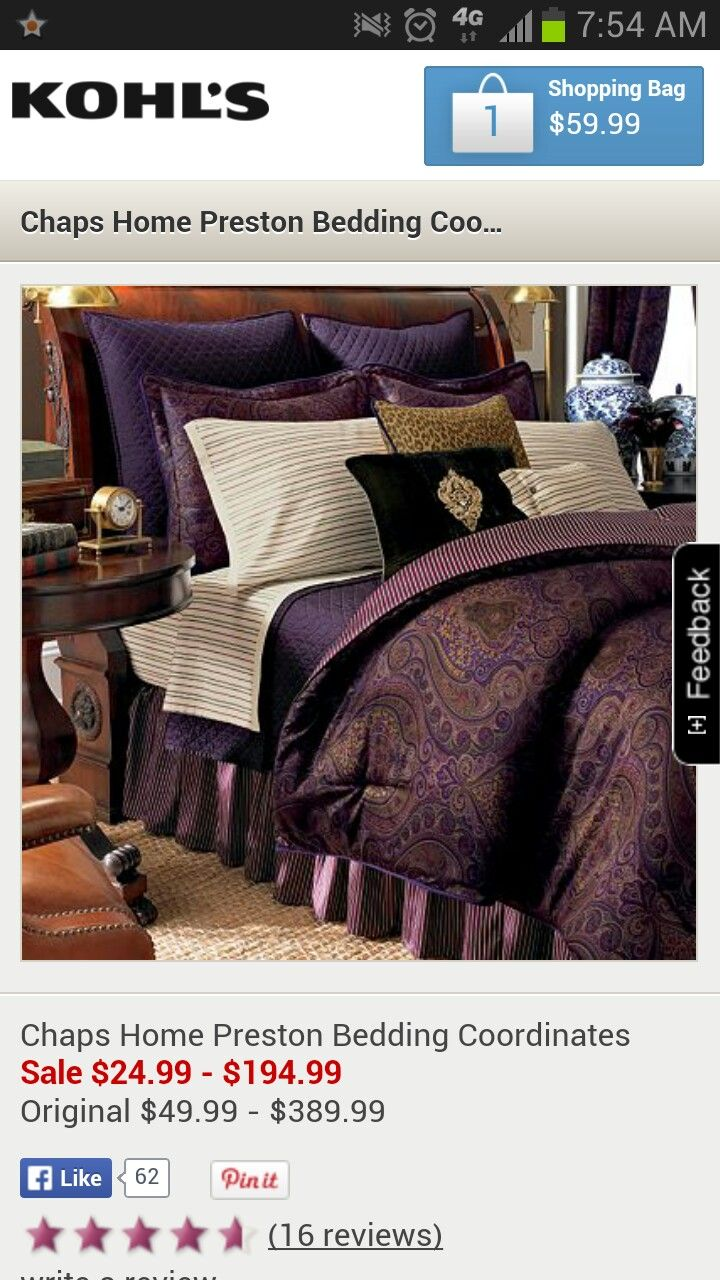 bedding preston passionate purple comforter kohls home coordinates set pin chaps