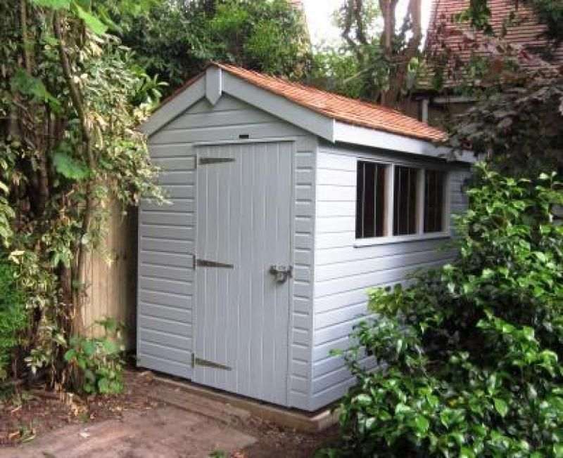 Garden Sheds Exeter garden shed in colonial colours using our valtti paint systems
