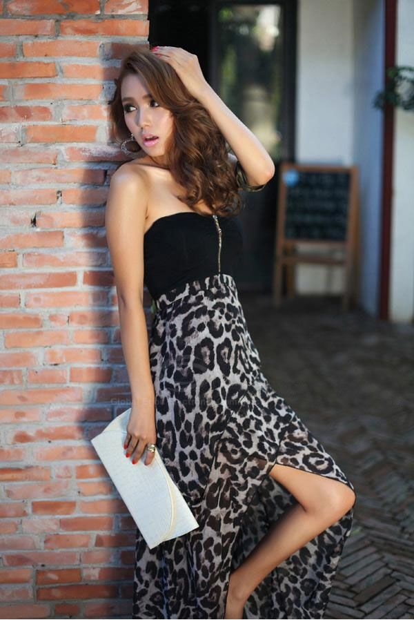 Women's Sexy Dress With Strapless Zipper Front Leopard Print High-Low Hem Design (BLACK,ONE SIZE) China Wholesale - Sammydress.com