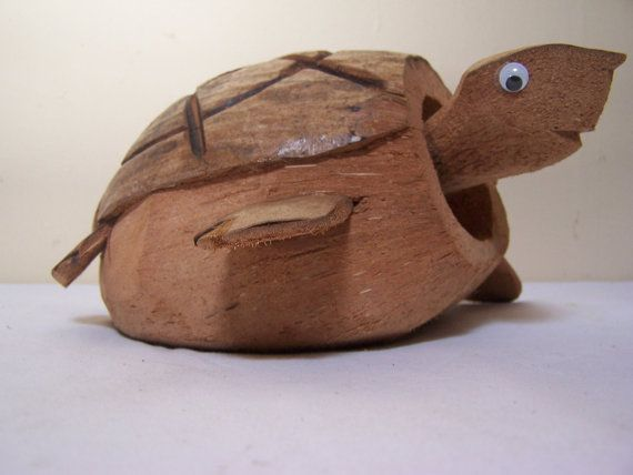 Vintage Hand Carved Coconut Turtle Bobble Head Wiggly Eyes Wobbler Ooak Fathers Day Gift Tiki Decor Kitsch Coconut Coconut Shell Crafts Carving