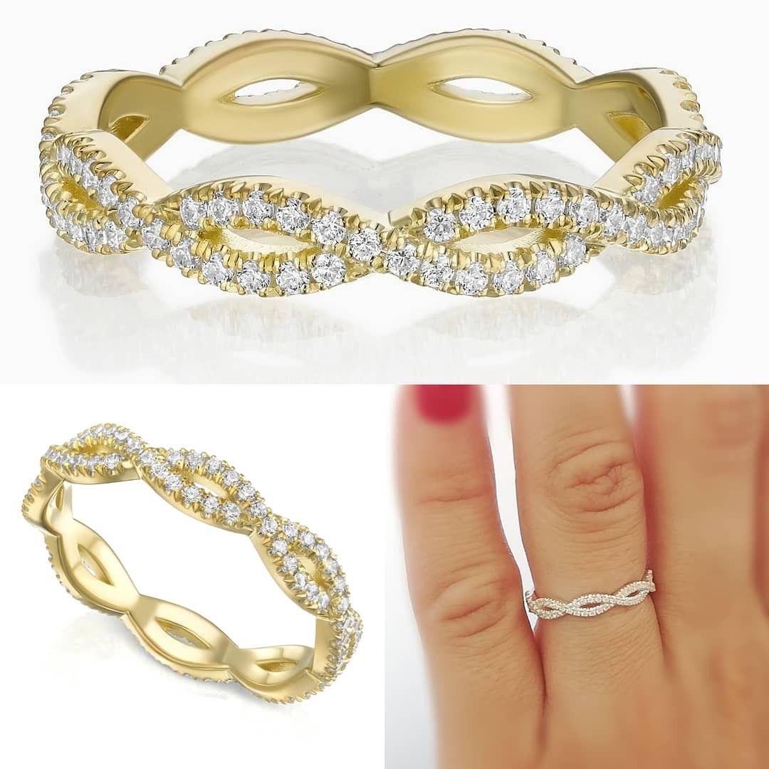Diamond wedding ring, Full Eternity Braided Diamond Twist