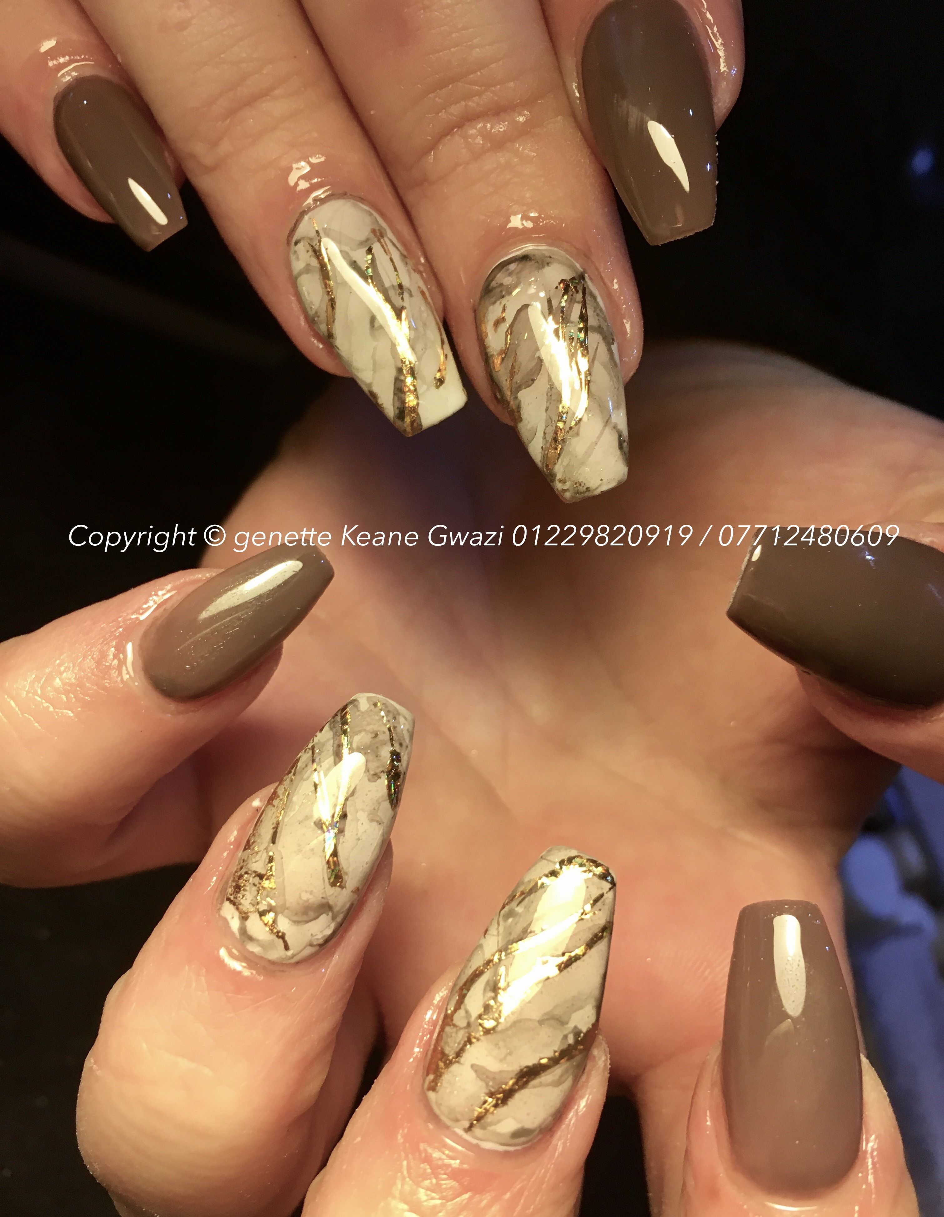 Brown acrylic nails & marble gold leaf nail art | Nails in ...