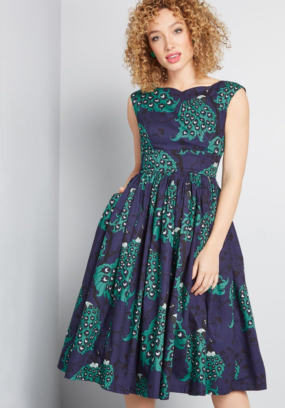 Modcloth X Dupenny Fabulous Fit And Flare Dress With Pockets In 16 The Perfect Retro Treasure Can Be Hard T Fit And Flare Dress Flare Dress Mod Cloth Dresses