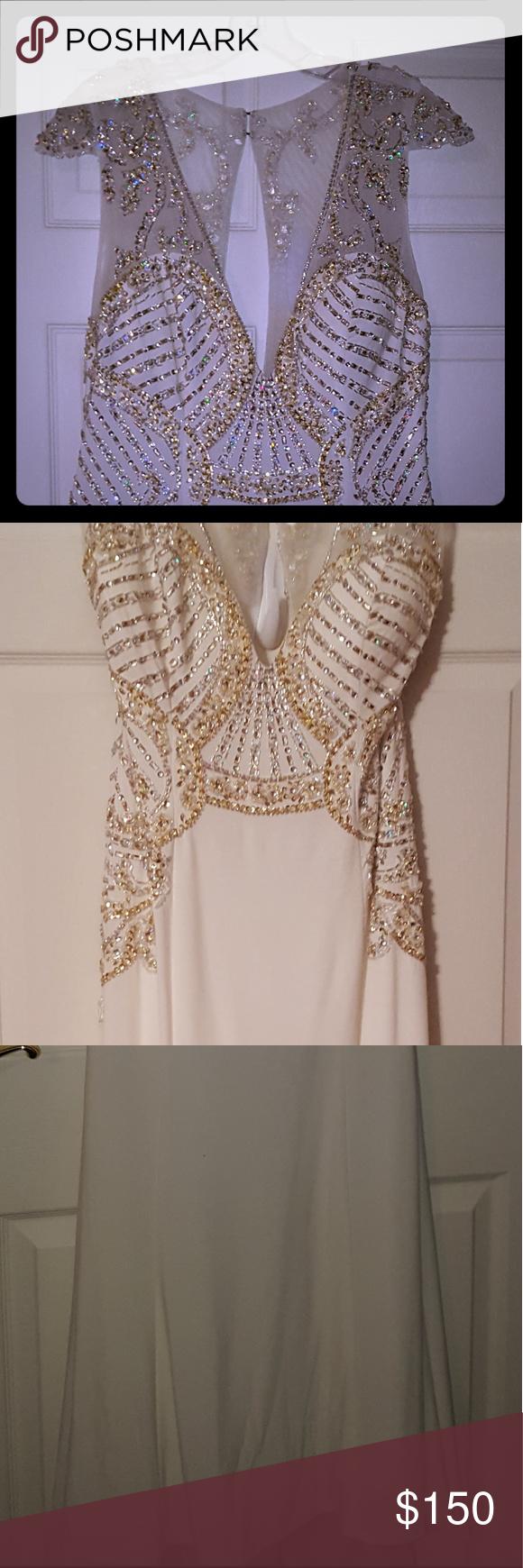 Unique vintage white gown with gold details my posh closet