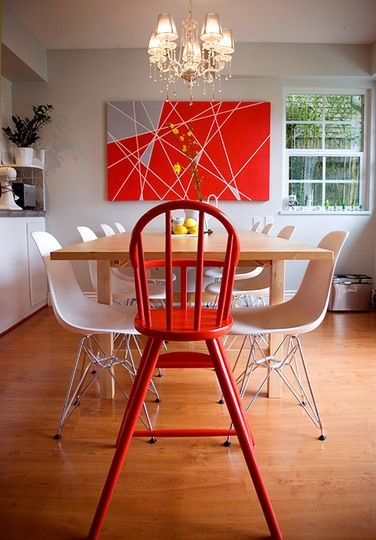 Ravishing Red Pop Of Color  Interiors Kitchens And Room Custom Dining Room Chairs Red Decorating Design