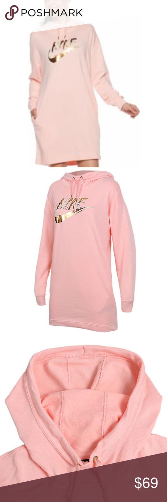 Nike Blush Pink Peach Metallic Hoodie Dress Xl Nike Dresses Hoodie Dress Metallic Dress [ 1740 x 580 Pixel ]