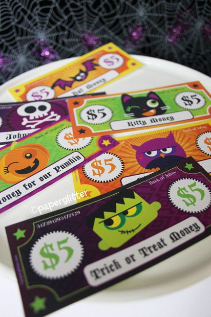Printable Toy Money : Paper toy money for halloween or play editable text