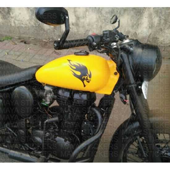 Flaming Skull Stickers For Royal Enfield Fuel Tank Modified - Classic motorcycle custom stickers