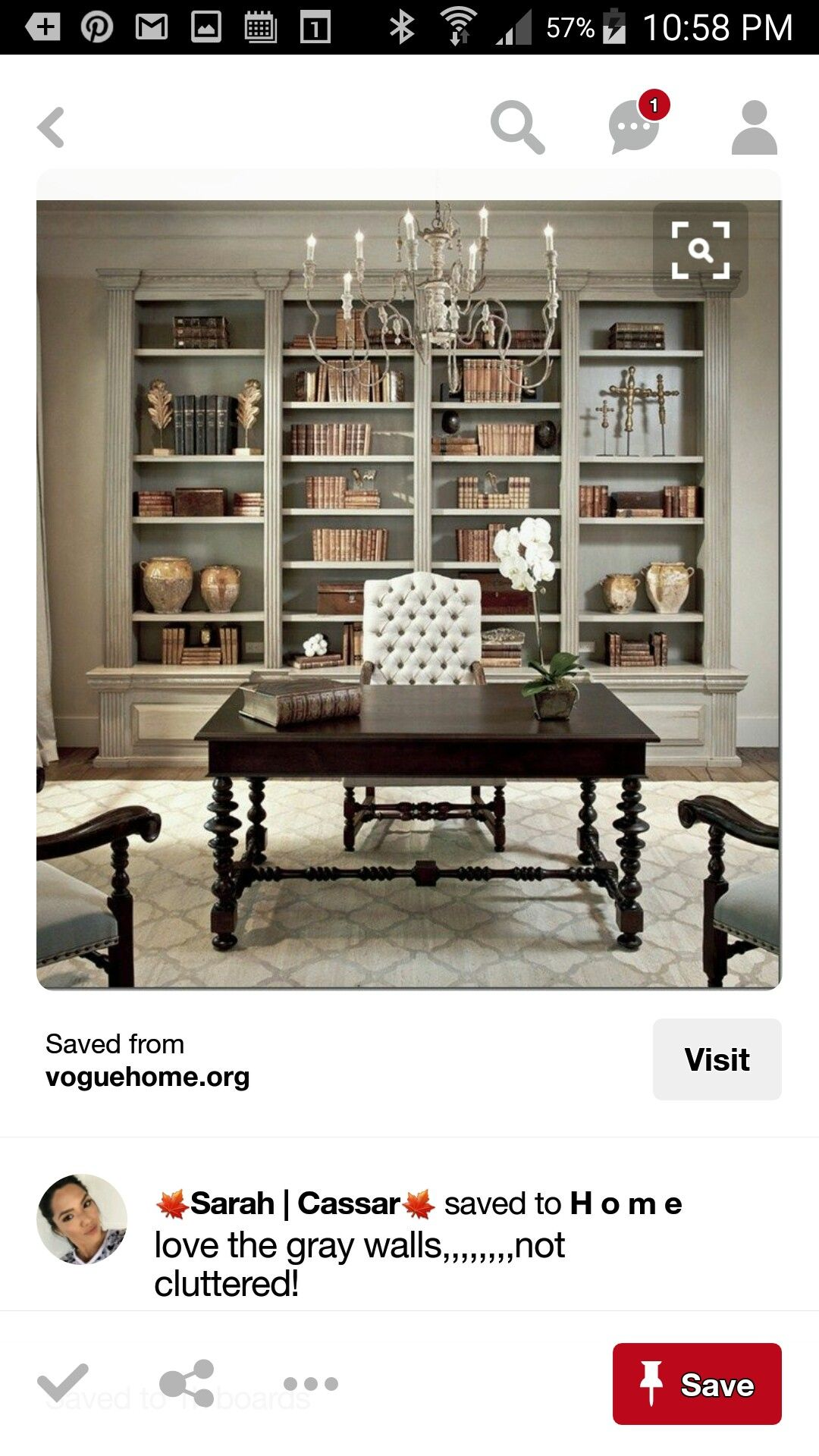 Dining Room Idea   Dens/libraries/offices   Sherwin Williams   Ermine   Chic,  Elegant French Office With Tan Walls Paint Color, Distressed Gray  Built Ins, ...