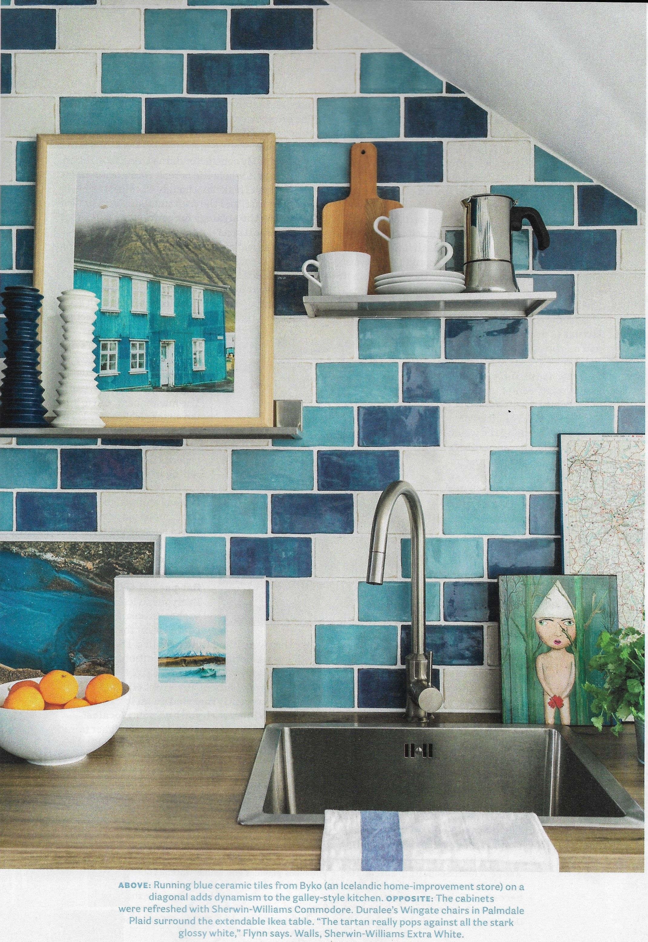Brian Patrick Flynn In House Beautiful Blue Subway Tile Multi Colored Subway Tile Turquoise Tile Blue Subway Tile Diy Kitchen Decor Multi Color Tile