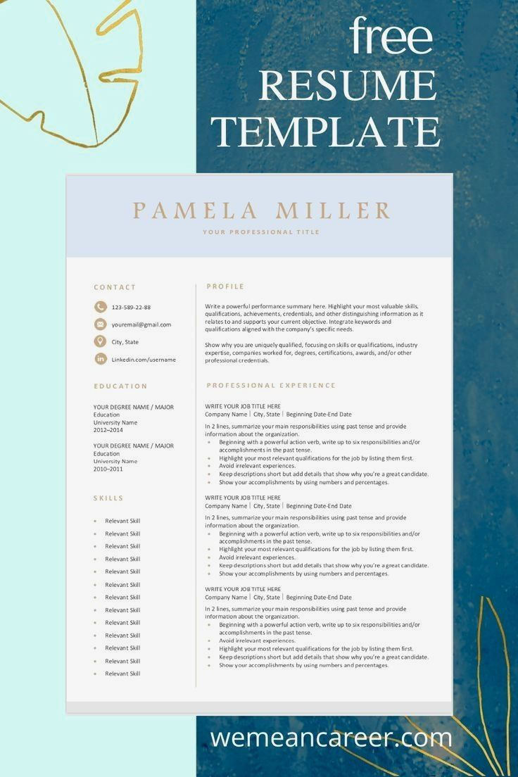 21 Super Resume Tips in 2020 Resume template free