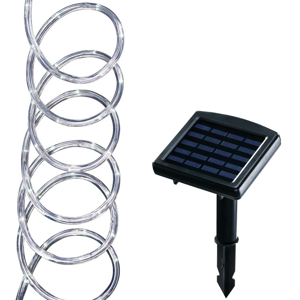 Hampton Bay Solar Powered 16 Ft Clear Outdoor Integrated Led 5000k Warm White Landscape Rope Light With Remote Panel 84130 Led Luces Paisajes