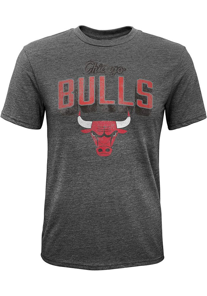 Chicago Bulls Youth Grey Couch Side Short Sleeve T-Shirt, Grey, 100% COTTON, Size L