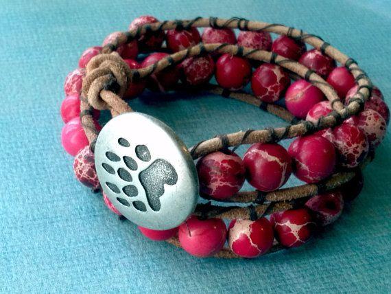Bear Claw Tribal Stone Wrap Bracelet. $25.00, via Etsy.