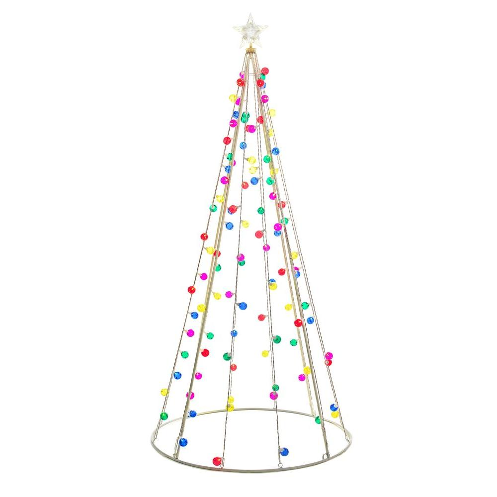 Home Accents Holiday 7 Ft Cone Tree With 105 Multi Color Lights Ty171 1218 The Home Depot Decorating With Christmas Lights Outdoor Christmas Tree Outdoor Christmas