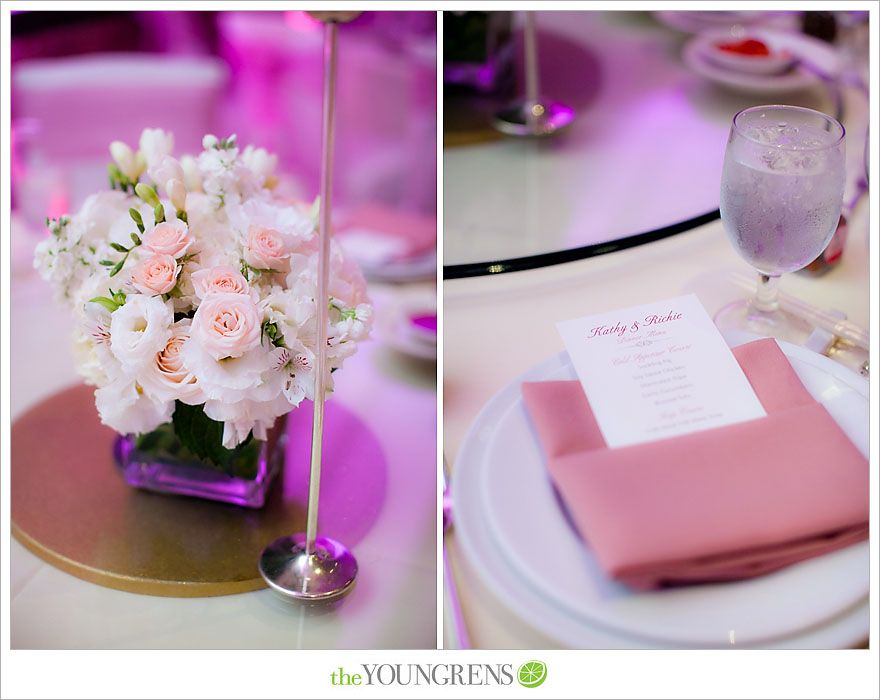 Wedding reception details at Downtown Los Angeles