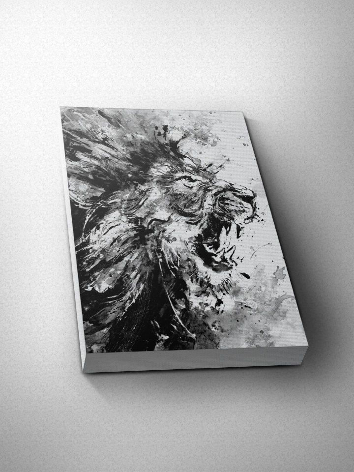 Lion art lion print wall art art print black and white art black and white print wall decor canvas art home decor large canvas bw