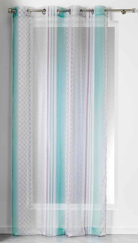 Voilage avec rayures verticales et motif g om trique sans accessoires rideaux pinterest for Rideaux voilages sans oeillets