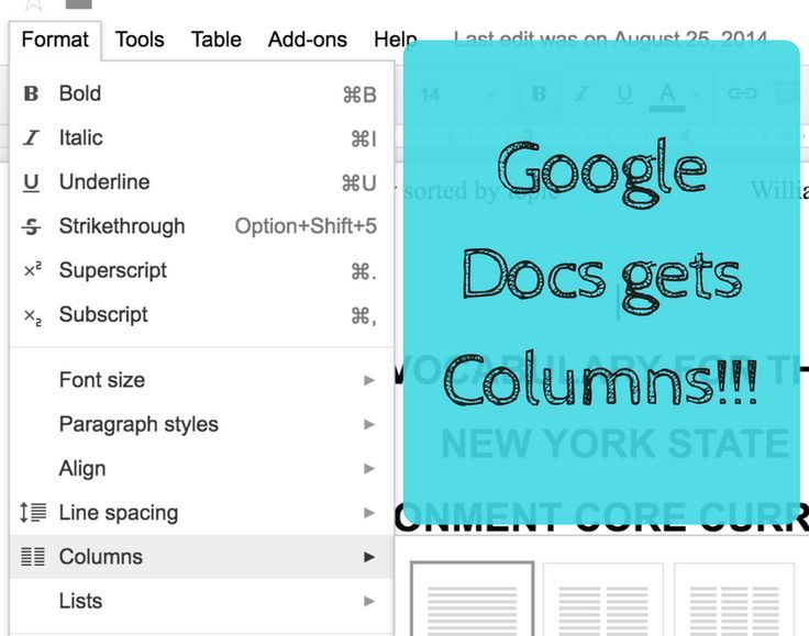 Google Docs now has the option of columns!! Technology in the - spreadsheet google docs
