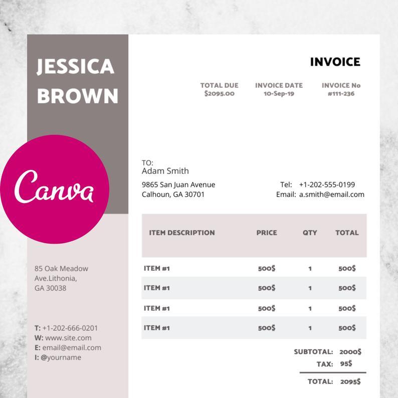 Canva Invoice Template Invoice Design Receipt Photography Etsy Invoice Design Invoice Template Photography Invoice