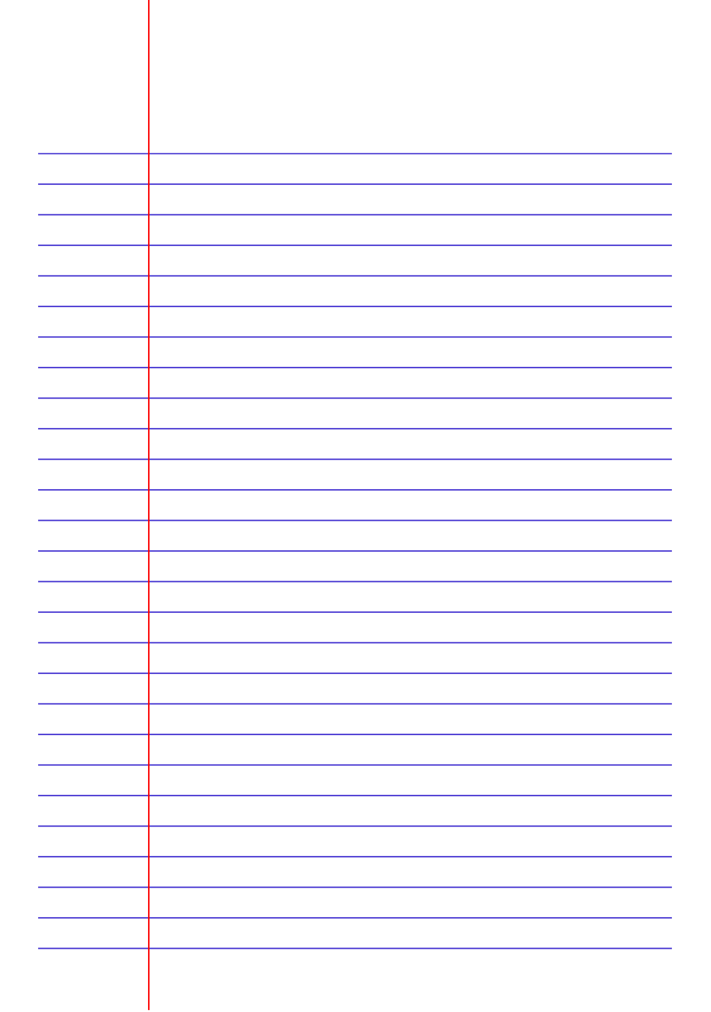 Printable Lined Paper Template