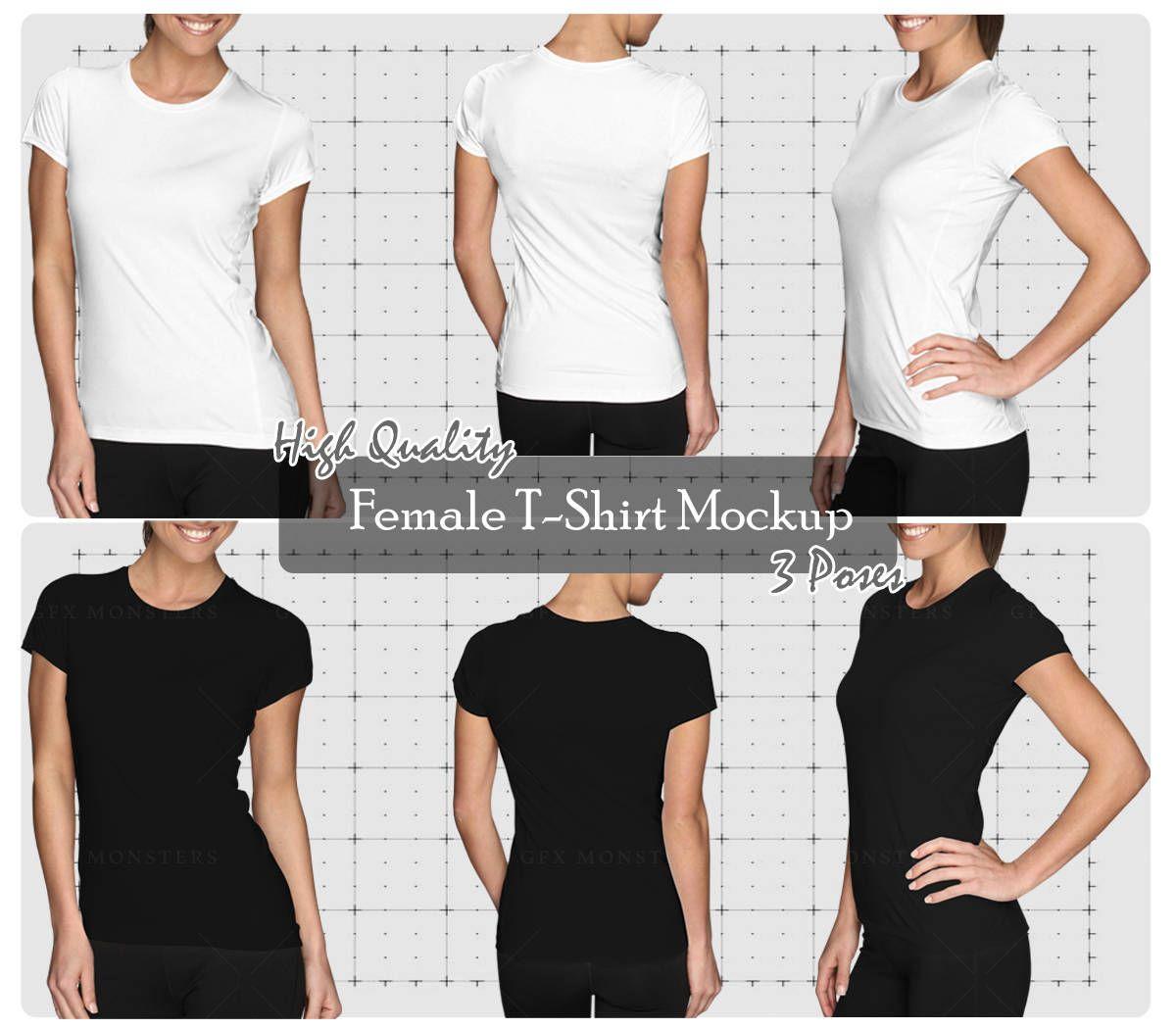 Download Girl Ladies Women T Shirt Mock Up Bundle Front Back Perspective Png Psd Apparel Mock Up High Resolution Mock Up Downloadable Clothing Mockup T Shirts For Women Women