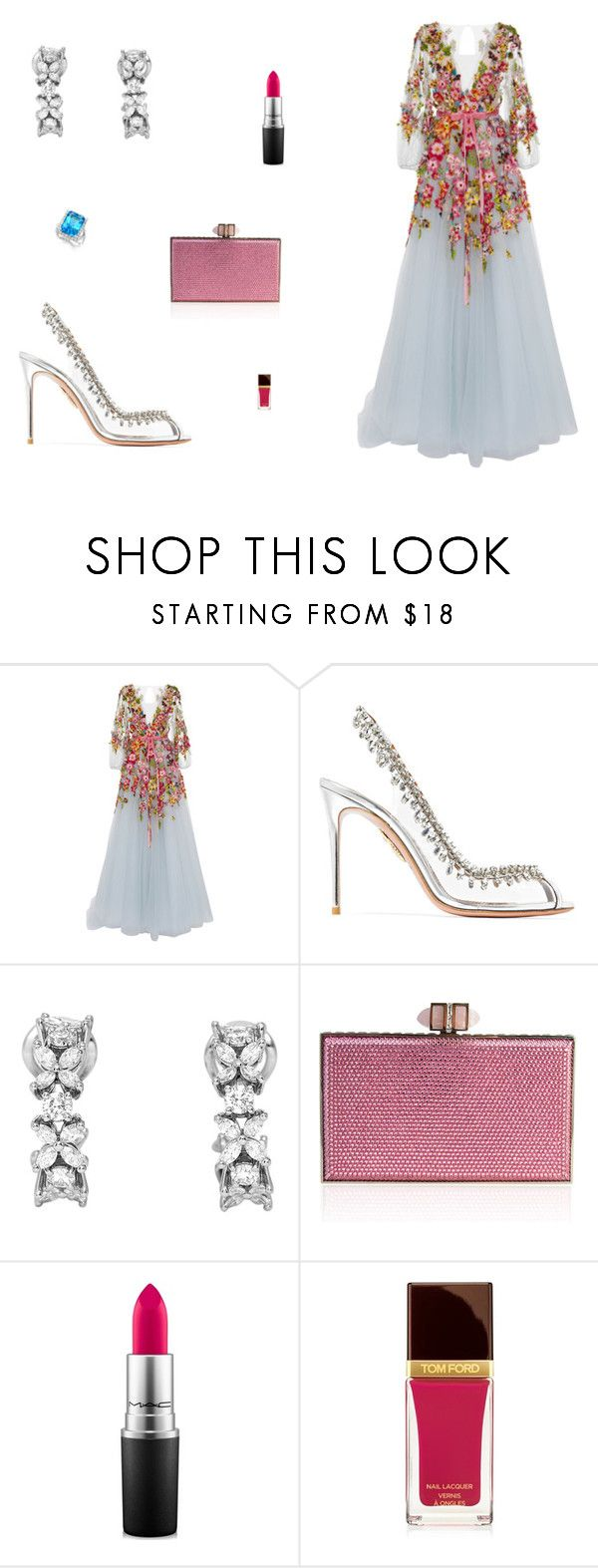 """""""Untitled #8661"""" by mie-miemie ❤ liked on Polyvore featuring Monique Lhuillier, Aquazzura, Tiffany & Co., Judith Leiber, MAC Cosmetics and Tom Ford"""