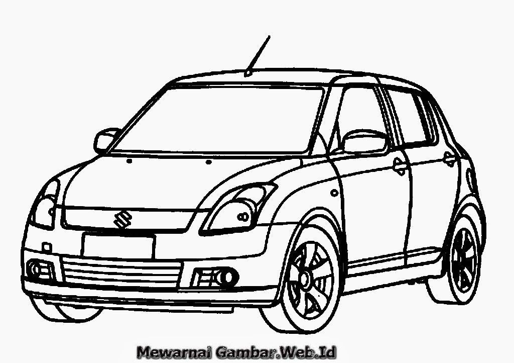 Gambar Mewarnai Mobil Suzuki Swift Jpg 1024 722 Mobil Gambar
