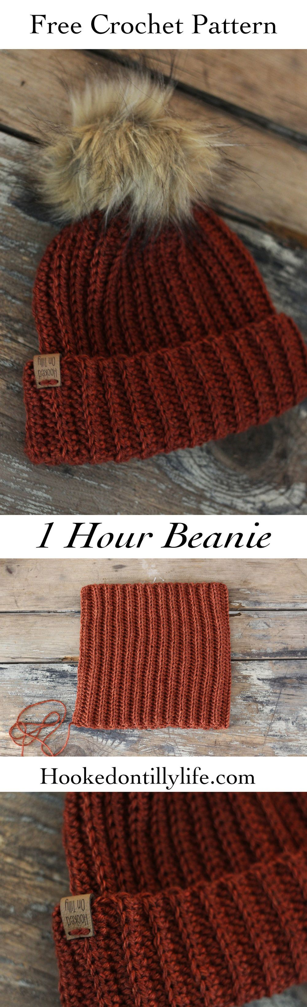 free crochet ribbed beanie hat beginner friendly finish in under 1 ...