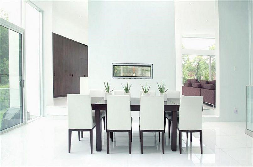 Dining Room Glass Sliding Door White Leather Chair Cherry Table Flower Vase Green Plant