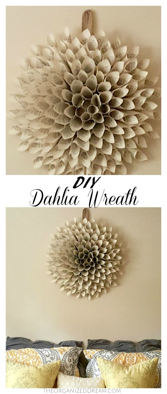 Diy Your Own Dahlia Wreath Out Of Book Pages Its The Perfect