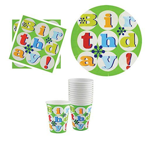 Happy Birthday Plates Napkins and Cups Set with Green Ret...