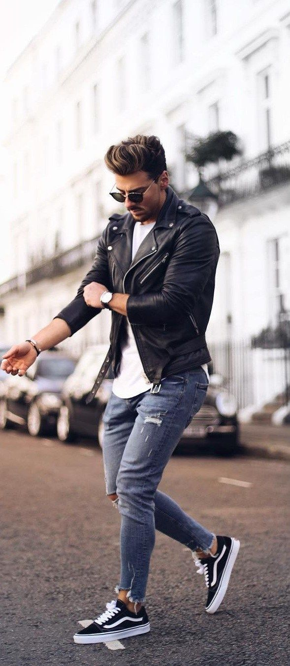 Street Style: leather jacket & converse | Fashion, Casual