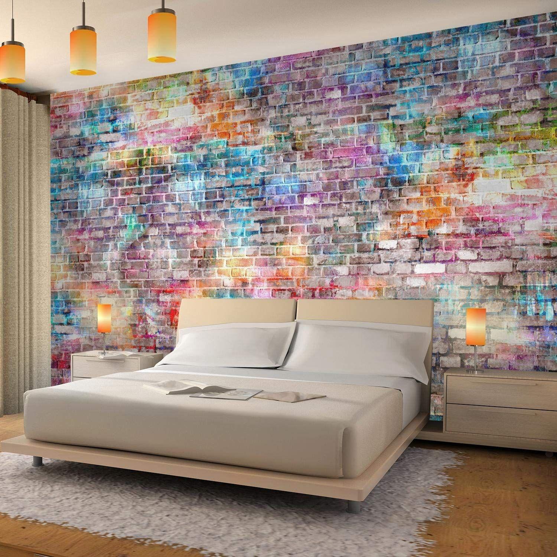 Fototapete Ziegelmauer 3D Bunt Vlies Wand Tapete