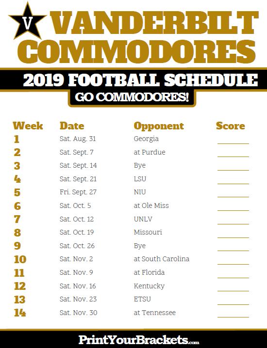 Wake Forest 2019 Football Schedule 2019 Vanderbilt Commodores Football Schedule   Printable College