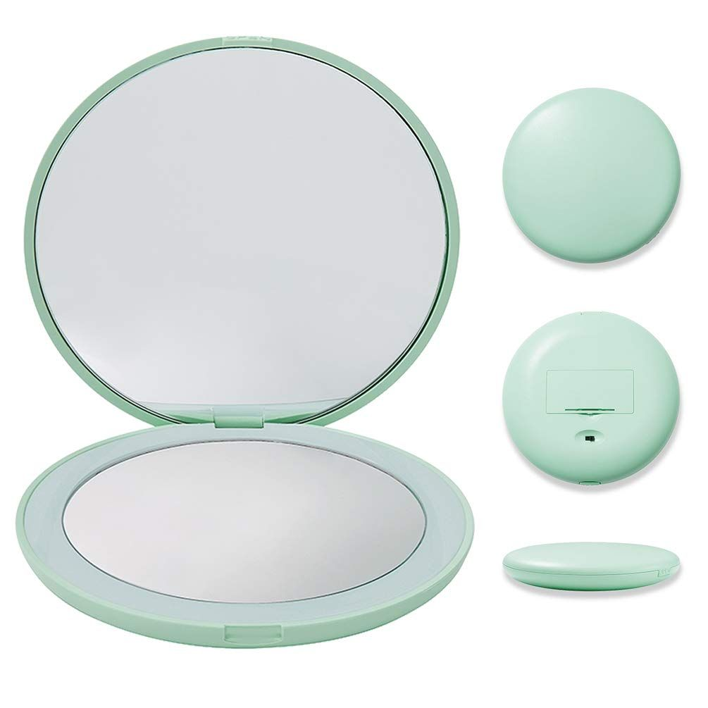 Travel Mirror 10x Magnifying Mirror With Light Small Compact Mirror For Pocket Portable Amazo In 2020 Travel Mirror Travel Makeup Mirror Makeup Mirror With Lights