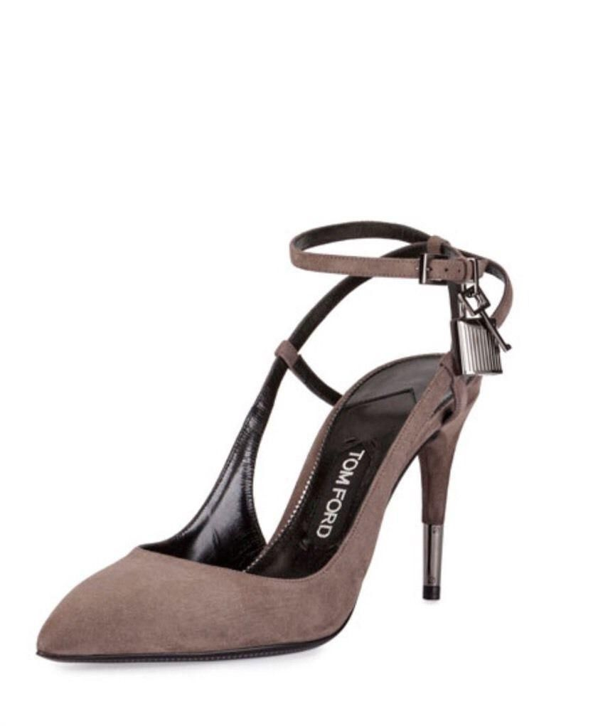 01d8533343e Tom Ford Padlock Ankle Lock 85mm Suede Gray Graphite Pumps Shoes Slingback