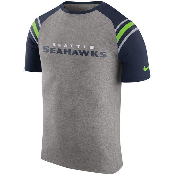 Men's Seattle Seahawks Nike Heathered Gray Enzyme Shoulder Stripe Raglan T- Shirt